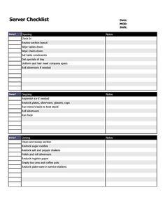 Restaurant server checklist form.