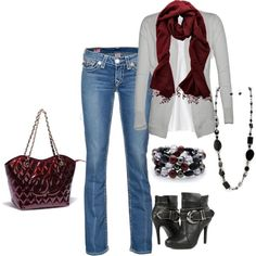 Gray and burgandy, created by lkbecker on Polyvore