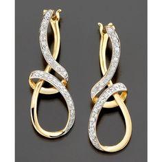 Diamond Earrings, 14k Gold Diamond Ribbon (1/10 Ct. T.W.) ($369) via Polyvore