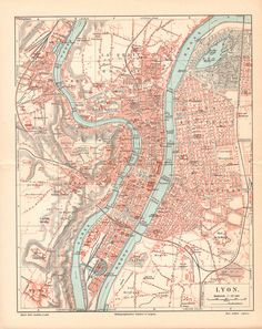 Items similar to Lyons Antique City Map from 1897 \\ Antique Lithograph Print \\ German, Lyon, Vintage Illustration, Old maps on Etsy Antique World Map, Old World Maps, Old Maps, Antique Maps, Vintage Maps, Vintage Wall Art, Paris Map, World Globes, City Maps