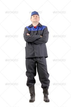 Man in working clothes with crossed arms ...  arm, black, blue, bottle, cap, cheerful, chores, clean, cleaner, clothing, crossed, daily, dirty, domestic, front, gloves, guy, handsome, happy, household, housekeeping, housework, job, liquid, maid, male, man, pink, process, red, scrubs, service, smile, sponge, spray, tool, two, wash, wear, work, worker, young