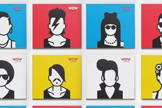 Graphic identity for the WOW Karaoke School featuring famous singers.