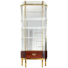French Mahogany Mirrored Back Glass Vitrines with Brass Detailing 1
