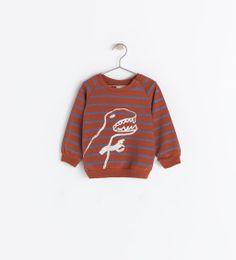 Image 1 of STRIPED SWEATSHIRT WITH DINOSAUR from Zara