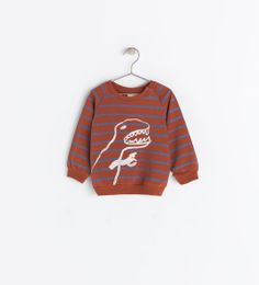 STRIPED SWEATSHIRT WITH DINOSAUR from Zara $19.90