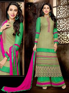 Aesthetic green color #Georgette kameez having glossy zari work with matching #Palazzo pant and rani pink color chiffon dupatta. Item code : SLEB8007 http://www.bharatplaza.com/new-arrivals/palazzo-suits.html