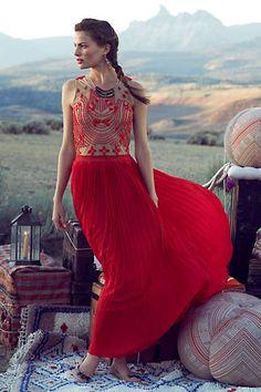 Anthropologie - Rubied Dusk Dress