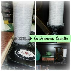 Super Quick project (under 5 min) creating a stamped candle from Joan Robertson's DailyStampede.com using Stampin' Up! En Francais background stamp. http://www.dailystampede.com/en-francais-candle-project/