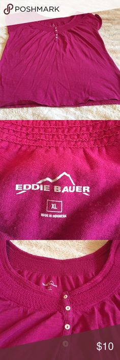 Eddie Bauer top Cap sleeve lightweight top. Dark pink. Good shape Eddie Bauer Tops Blouses