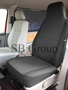 VW TRANSPORTER T4 VAN SEAT COVERS ANTHRACITE BLACK CLOTH FABRIC 2 FRONTS 001
