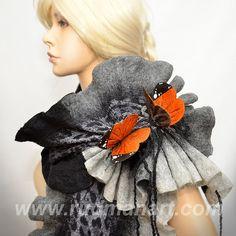 Felted 3D ART Scarf Silk wool wrap shawl scarf Rust by RudmanArt, $149.00