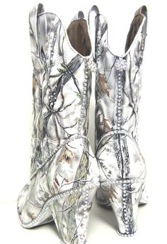 Snow White Camouflage Women S Western Bridal Boots Hand Painted Camo Wedding