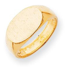 14k Yellow Gold Solid Back Signet Ring