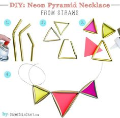 DIY idea, make neon necklace from straws! Crafty yet really cute.