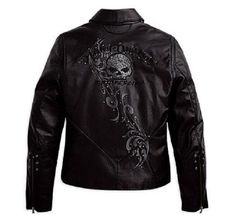 Harley Davidson Womens WICKED Swarovski Skull Black Leather Jacket 97123-09VW XS