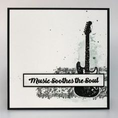 Music Speaks | Visible Image - guitar stamp - music soothes the soul - created by Veerle Moreels