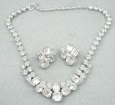 Eisenberg Ice Rhinestone Necklace Set - Garden Party Collection Vintage Jewelry