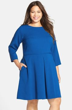 Eliza J Pleat Front Fit & Flare Dress (Plus Size) available at #Nordstrom