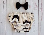 Mustache for baby! Baby Boy Mustache Diaper Cover And Matching Bow Tie