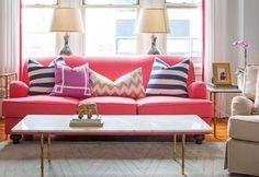 Interior Design Pink Sofa, geometric cushions
