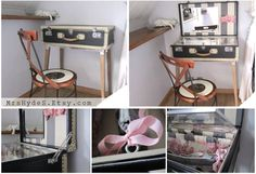 UNIQUE PIECE Big grey vintage Luggage with off-White frame, repurposed as Vanity Table (inside in pink Toile and Gray stripes) via Etsy