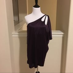 NWT Deep plum susana monaco one shoulder top  NWT deep plum susana monaco one shoulder top. 95% silk 5% spandex. Beautiful top that pictures do not do justice! Double lined around bust and flowy at the bottom. Meant to fit long. A very high end top regularly priced at $200! Size 2. No trades, holds or PP. Comes from a smoke free home. Susana Monaco Tops Blouses