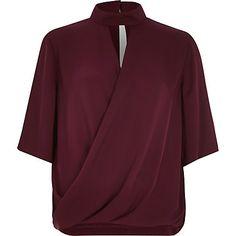 Purple wrap front high neck t-shirt $60.00