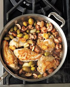 Garlic-Braised Chicken with Olives and Mushrooms, Wholeliving.com sounds alrite.