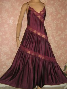 89745ab875d7 Vintage Nightgown Maroon Long Princess Tiered Lace Inset S Henson  Kickernick - My mother made this