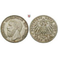Deutsches Kaiserreich, Baden, Friedrich I., 5 Mark 1893, G, ss, J. 29: Friedrich I. 1852-1907. 5 Mark 1893 G. J. 29; sehr schön,… #coins