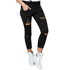 Introducing Baomabao Women Skinny Ripped High Waist Pants Stretch Slim Pencil Trousers Small black. Great product and follow us for more updates!