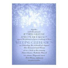 Periwinkle lavender blue string lights rustic wedding invitations