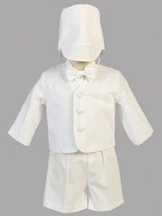 Bébé Garçon Baptême Formel Mariage Smoking 2pc Crème Suit in MATCHING Cravat
