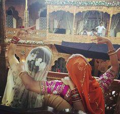 A Bollywood film set. Sonam Kapoor and Swara Bhaskar on the sets of Prem Ratan Dhan Payo