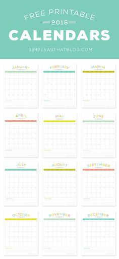 Free printable 2015 Calendars | Simple as That Blog