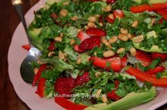 strawberry, avocado & coriander nut salad with a sweet balsamic dressing / mouthwatering vegan recipes