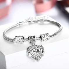 Vicky Teacher Gifts - Bangle Bracelet with Heart and Love Charms, White - Quan Jewelry - 3