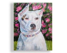 """Pittbull Dog Artwork Portrait Giclee Print, Animal Wall Decor, size and mat option. Reproduction of my original pitt bull dog painting, """"Layla"""" in optional white mat. This fine art print would be sure to impress anywhere in your home, a beautiful addition to your dog, Pittbull collection or gallery wall. Great gift idea for the dog art lover. Easily pop your giclee art print into a frame to display on a shelf or hang on a wall. Beautiful! Click """"SELECT OPTIONS"""" Dropdown to pick size and…"""