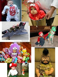 Halloween costumes for babies  Wilson the volleyball from Castaway. A lobster, flight pilots, mario, carebear, mushroom, Mr. T.
