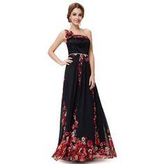 63bc5339b43d Ever-Pretty Ever Pretty One Shoulder Black Floral Print Rhinestones Evening  Dress 08246 Večerní Šaty