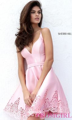 Image of a-line short v-neck homecoming dress by Sherri Hill. Detail Image 3