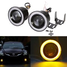 "3/"" 12V LED Projector Fog Light Round Amber Angel Eye Halo Car Motorcycle 3200Lm"