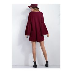Burgundy V Neck Bell Sleeve Tunic Dress ($14) ❤ liked on Polyvore featuring dresses