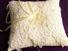Ivory Ring Pillow Wedding Lace Ring Pillow by SophieAtelier, $42.00