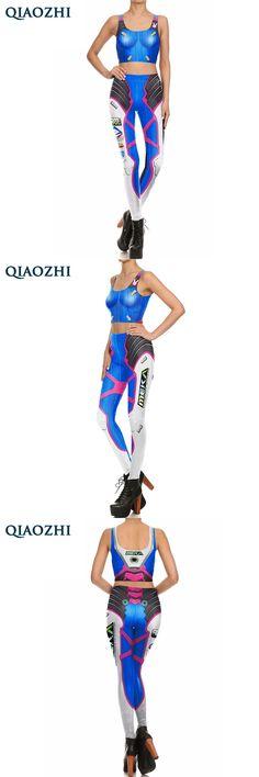 QIAOZHI New Fashion Super HERO D.VA Cosplay Leggings Set for Women Skinny Bodysuit Role Play Movie Costumes Clothing