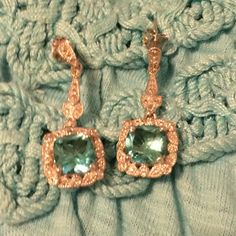 Earrings Sterling Silver and 18k White Gold, Diamond and Tourmaline Earrings. Tried on but never worn. Offers Welcome! Jewelry Earrings