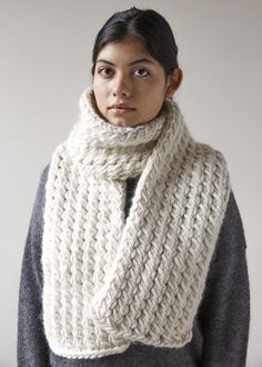Following a very simple pattern and on jumbo US 17 needles, you can easily whip up this lovely, long wraparound in time for the next snowstorm...