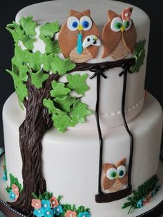 for my Moms' love of owls birthday cake. (with a little tweeking)