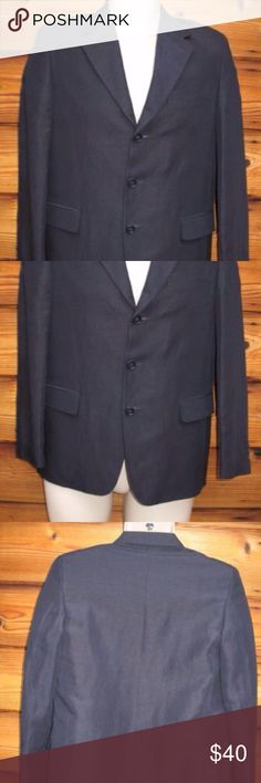 """Europa Collection Boy's Linen Blend Blazer Jacket Europa Collection Boy's Linen Blend Three-Button Blazer Jacket, Size 18 R  *Excellent condition. No stains, holes or other imperfections  Details: Europa Collection Size: 18 R Color: Blue Fully lined Padded shoulders Two front, flap pockets (sewn shut) One interior open pocket 55% Linen/45% Rayon Dry Clean Only  Measurements: Length: 27"""" Chest: 36"""" Waist: 34"""" Across Shoulders: 15"""" Europa Collection Jackets & Coats Blazers"""