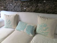 coastal themed throw pillows, crafts, home decor, Coral branch and Coral fan embroidered boudoir pillow cover in aqua blue and white